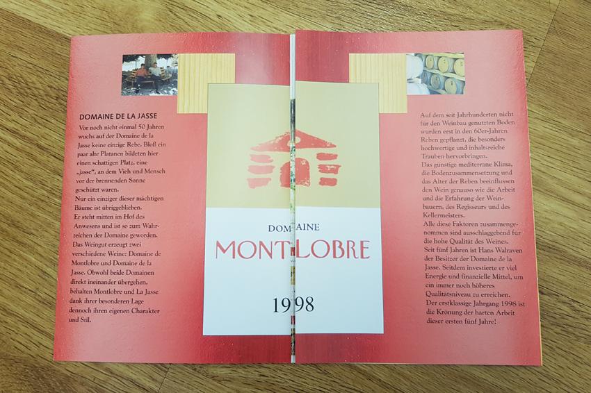 Erstes Angebot des La Chapelle der Domaine Montlobre, Montpellier mit dem Jahrgang 1998.